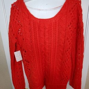 Free People Sweaters - Free People Wildfire Red Bulky Sweater